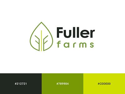 Fuller Farms Logo Design local business foodtruck farms organic sustainable minimal green logo color palette branding concept branding logodesign logo