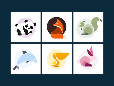 Ascent Autism Online Social Groups design logo creativity logodesign animal logos dolphin pelican rabbit squirrel fox panda social skills peer groups autism