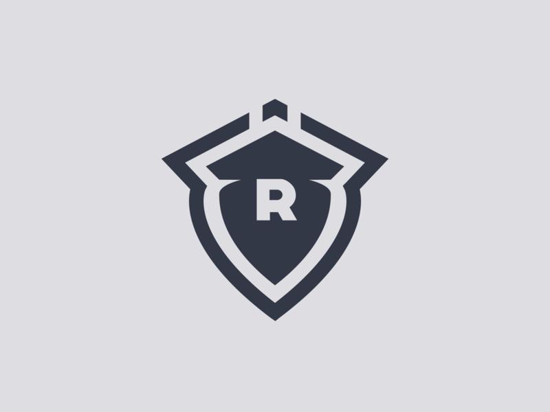 R r logo r shield flat logo designer logo design logo graphic design branding
