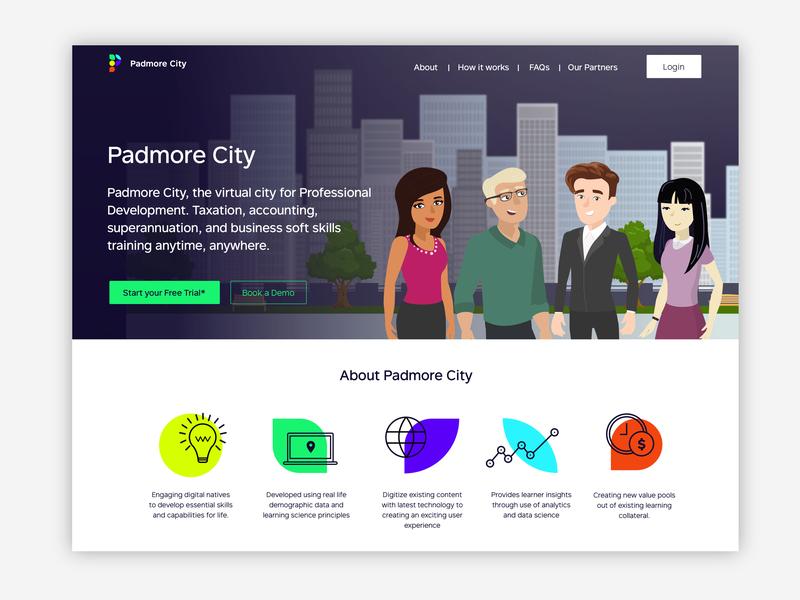 Padmore City Landing Page brightcolours funproject illustration webapp gamifiedapp landingpage gamification
