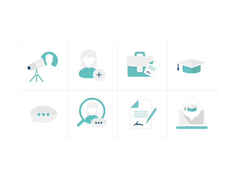 Illustrations for Scout Talent simplicity turquoise simple simpledesign appdesign design webapp illustration