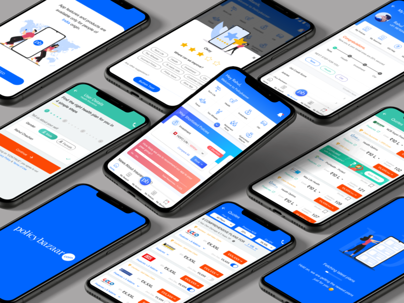 Policybazaar Mobile App typography banner rahul chauhan app mobile app icons home home screen rating quote quotes insurance company insurance insurance app policybazaar