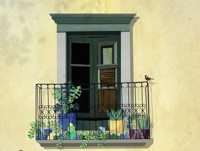 The window artwork art texture mood balcony illustrator digital illustration digital art flat illustration story bird noon summer window flat design minimal flat vector design illustration