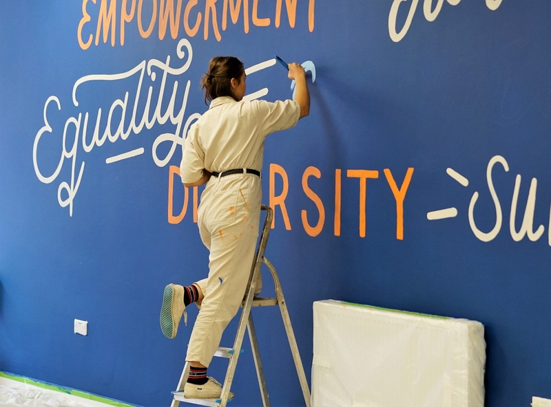 32ft Lettering Mural for a charity