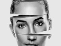 Sliced face woman