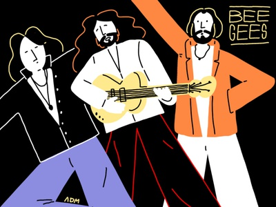 Bee Gees tribute hellofunnypeople disco 80s guitar music digitalart beegees