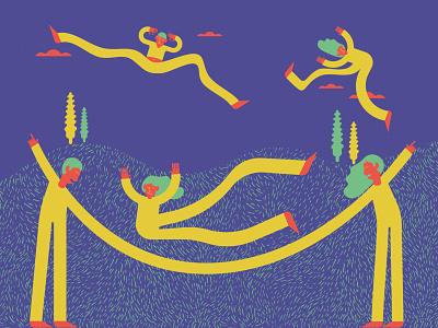 La corda (giochi di strada) illustrazione giochi gioco corda salto jump puppets texture flatillustration flat flatcolor lacorda giochidistrada vector illustration