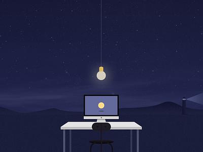 Design Is Lonely illustration workspace desk lonely design