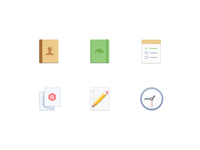 Function Icons note todo pen clock book icons