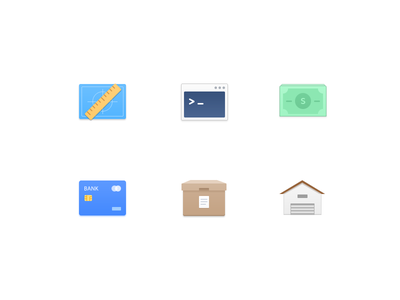 Function Icon 2 warehouse box card bank money code ruler icons