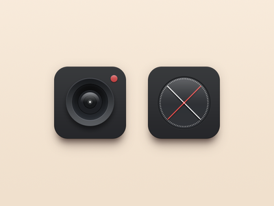 Black icons os icon camera clock red black icons simple icon
