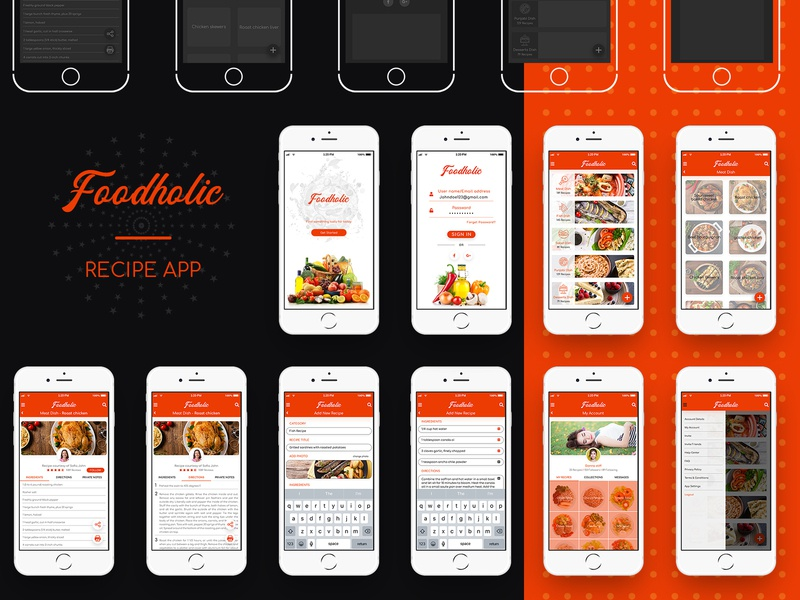 Foodholic recipe app food app food login screen login page profile print recipe book recipe app recipe application ui application wire frames wire frame app dashboard app concept app ashvin ux ui dribbble