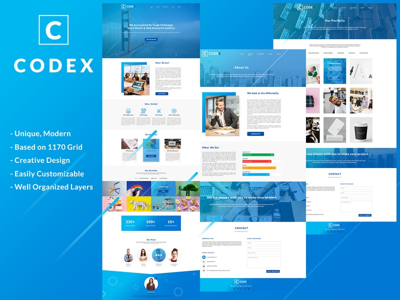 Codex - One Page PSD Template agency branding agency co working blue clean modern corporate portfolio design portfolio page portfolio aboutus about us codex one page site one page template psd one page website web color
