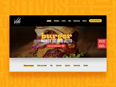 Villa Hamburgueria Website Burgers Page burger website web design
