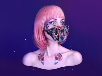 B.R.E.A.T.H.E. - wearable paper object experimental fashion face galaxy purple photoshop illustration pandemic human robot handmade ar augmented reality technology ecology nature mask future
