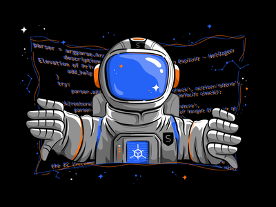 Smarttech Astronaut security character design vectorart vector illustrations cyber security cybersecurity galaxy space astronaut code exploration illustration illustrator vector graphics vectors vector illustration