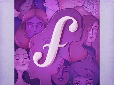 "Female ""F"" alphabet 36daysoftype 36days grain photoshop vectors violet girl power women female handlettering lettering"