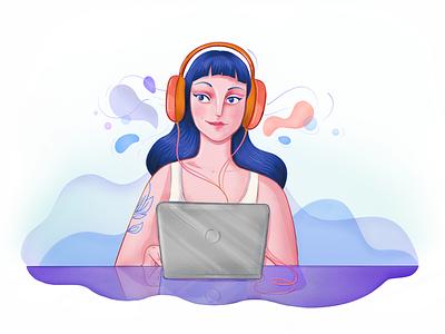 Listening to Music Illustration photoshop vectors laptop illustration earphones equalizer vibes sound website app musicapp music