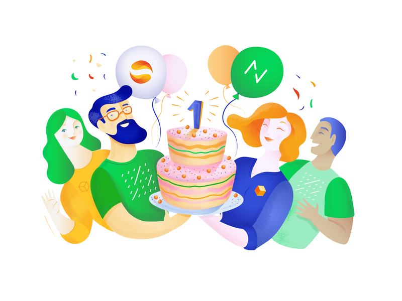 Netguru and SolarisBank partnership, anniversary anniversary character branding illustrator vector art vectors party birthday cake celebration partnership illustration