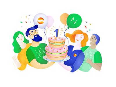 Netguru and SolarisBank partnership, anniversary anniversary character branding illustrator vector art vectors party birthday cake celebration partnership illustration