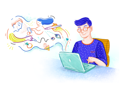The power of illustration abstract artwork shapes conversion user character digital drawing imagination laptop blogging blog illustrator illustration
