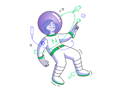 Design space exploration vector illustrations vectors working process illustrator vector graphics sticker illustration meetup designer graphic tools exploration galaxy space astronaut