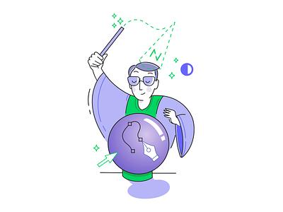 The magic of the design process designer tools phase character adobe working process sticker vector graphics vectors illustrator illustration magician magic