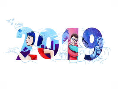 New Year Project! collab adventure love behance illustrator illustration watercolor numbers hand made font people mixed media new year 2019