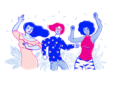 Womendance Dribbble web illustration spot illustration power people passion hero illustration fun digital drawing plants celebration diversity illustrator illustration character girl power women empowerment happy dance dance women