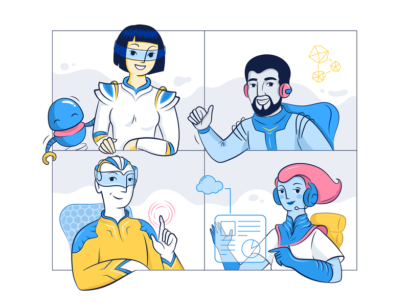 Catchpoint - speakers of the future vector art vectors adobe illustrator illustration skype chat character design character user diversity future vr robot speakers technology