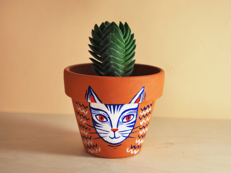 Cat's'plants project: cat flower pot character design illustration plant product animal animals featured behance hand painted illustrator accessories interior design cat plants