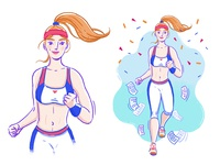 Fitness Illustration no. 2 character goal active fitness app healthcare photoshop illustrator illustration woman fashion sport jogger fitness runner run