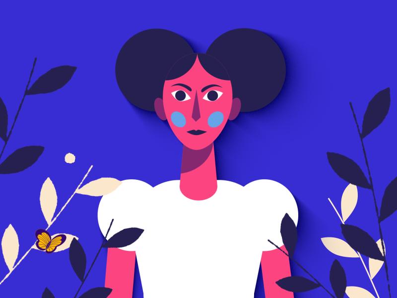01 Girl butterfly blue nature women girl face design character design illustration