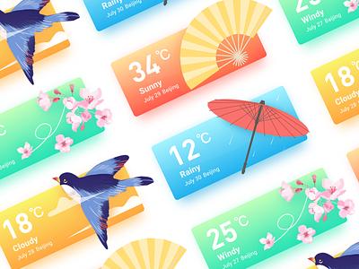 Weather card folding fan fan rain cloud wind umbrella bird app weather