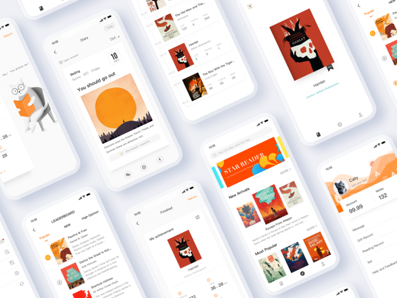 IReader-Selected App red orange mobile icon interface reading app reading illustration ui-ux app