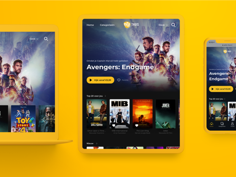 New Pathé Thuis VOD platform Homepage app web mobile iphone ios ux ui e-commerce responsive design responsive website responsive avengersendgame avengers movies movie app movie svod tvod homepage vod