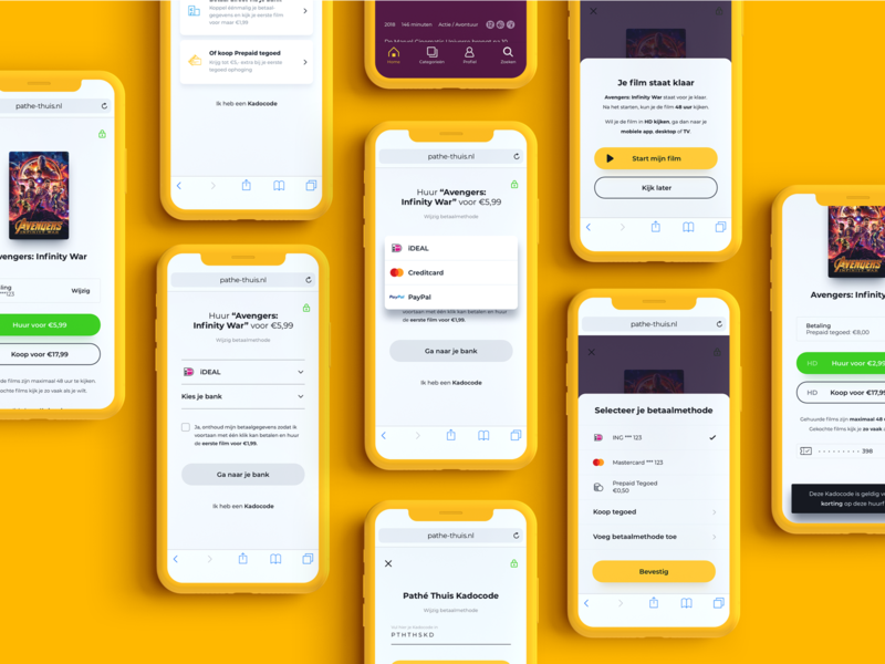 Pathé Thuis Payment flow web responsive mobile ios ux ui video on demand vod payment form flow movie paypal creditcard payment checkout e-commerce
