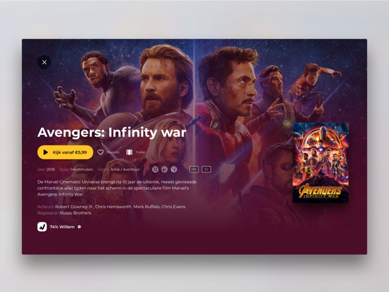 Pathé Thuis Movie page experience ux ui film e-commerce web movie avengers marvel