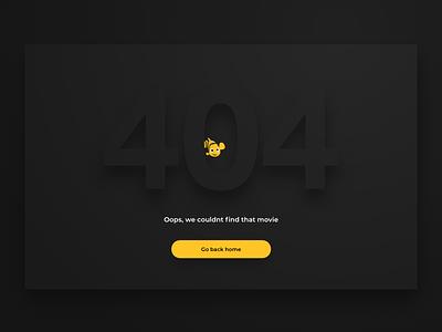 404: Movie not found - Pathé Thuis error page illustration 404 500 error 404 error web ux ui e-commerce