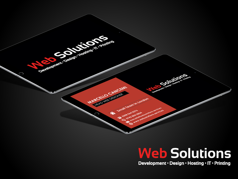 Business Card Design Web Solutions Ltd. business card typography logo illustration vector ui flat design