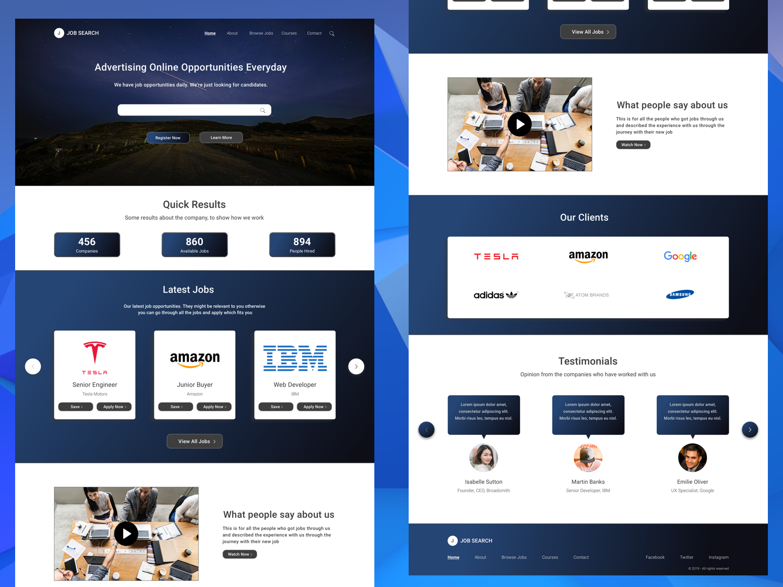 Job Search Landing Page Concept minimal website web icon branding logo illustration concept app vector ui flat design