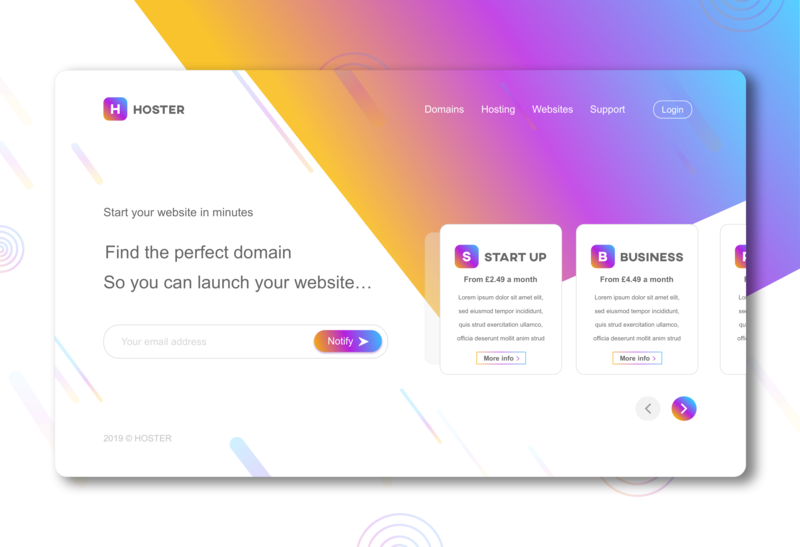 Hoster Landing Page Concept website minimal web landing page concept type ux inspiration idea sketch app colors branding logo illustration flat vector ui design