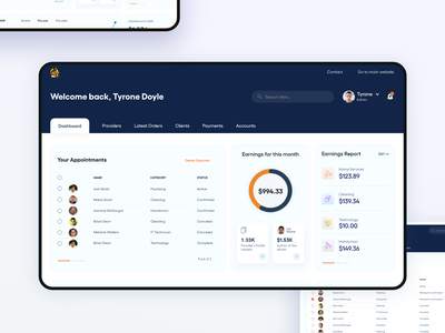 Client and Provider Management Dashboard financial modern provider home service product design product dashboard ui dashboard