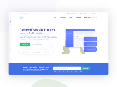 Web hosting and Technology Template cloud hosting blue technology user interface ui web site web hosting template
