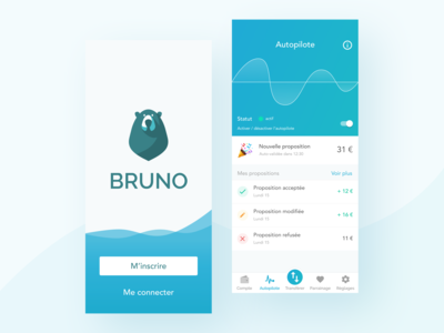 Landing page / Autopilot screen for Bruno - Using waves 🌊