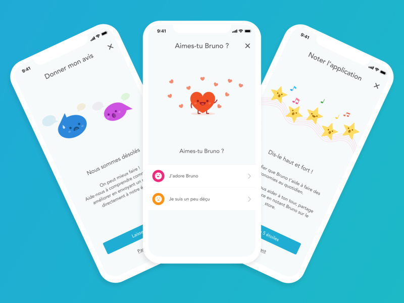 Store rating flow for Bruno chat bubbles heart stars mobile design savings frenchtech branding illustration design figma brunofintech fintech feedback stores ratings banking
