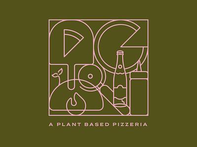 Pizza Verde plant based vegan pizzeria verde pizza geometric vector apparel design tshirt design fort worth illustrator design