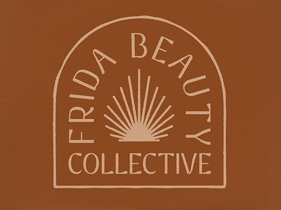 Frida Beauty Collective Badge frida texture type warm femme desert southwestern western typography badge leaf palm sun salon collective beauty merch apparel design