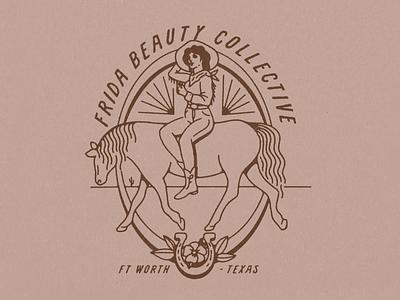 Frida Beauty Collective Cowgirl merch apparel design salon collective beauty frida procreate illustrator illustration desert horse cowgirl femme southwestern western texas fort worth