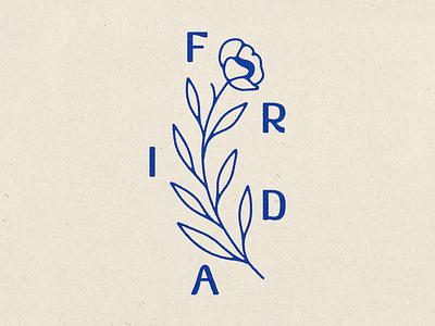 Frida Flower leaves texture salon collective frida beauty slow flower type typography illustration illustrator fort worth